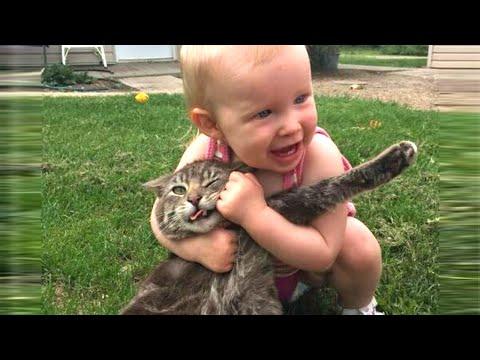 赤ちゃんVSネコちゃんの戦いがひたすら可愛い(º﹃º♡ )